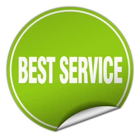 best service: best service round green sticker isolated on white