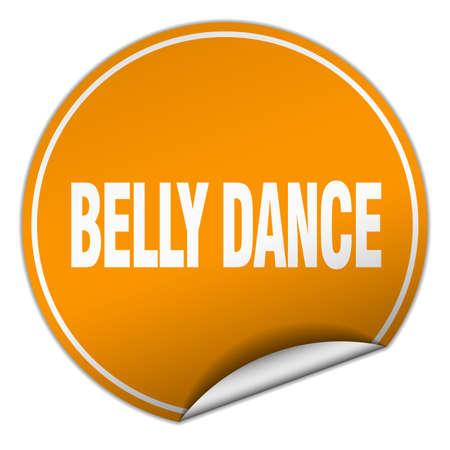 belly dance: belly dance round orange sticker isolated on white