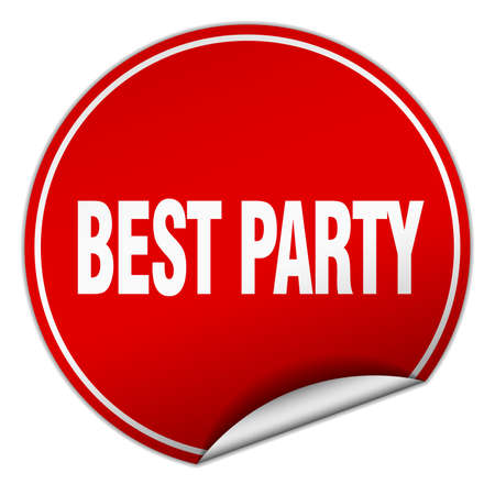 best party: best party round red sticker isolated on white