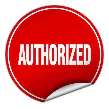 authorized: authorized round red sticker isolated on white