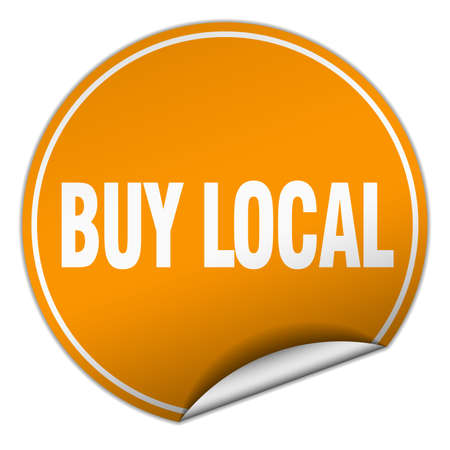 buy local: buy local round orange sticker isolated on white
