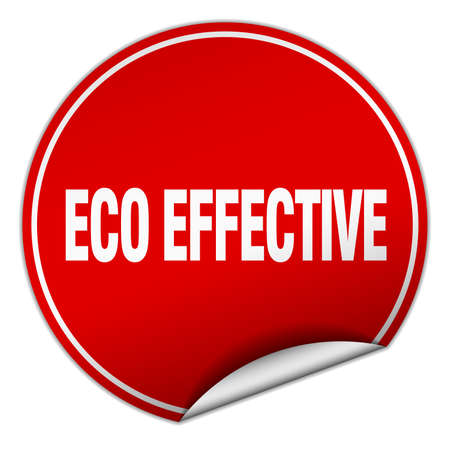 effective: eco effective round red sticker isolated on white Illustration