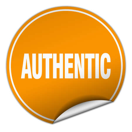 authentic: authentic round orange sticker isolated on white
