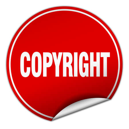 copyrighted: copyright round red sticker isolated on white