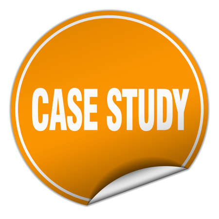 case study: case study round orange sticker isolated on white