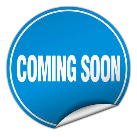 coming soon: coming soon round blue sticker isolated on white Illustration