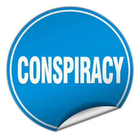 conspiracy: conspiracy round blue sticker isolated on white