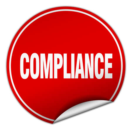 compliance: compliance round red sticker isolated on white