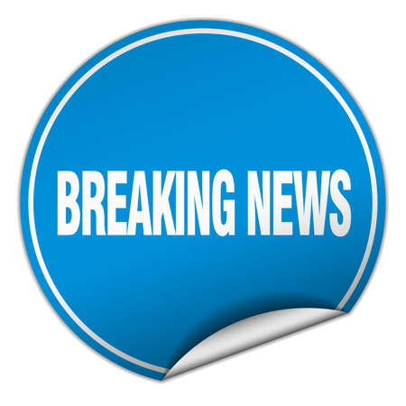 breaking news: breaking news round blue sticker isolated on white