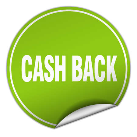 cash back: cash back round green sticker isolated on white