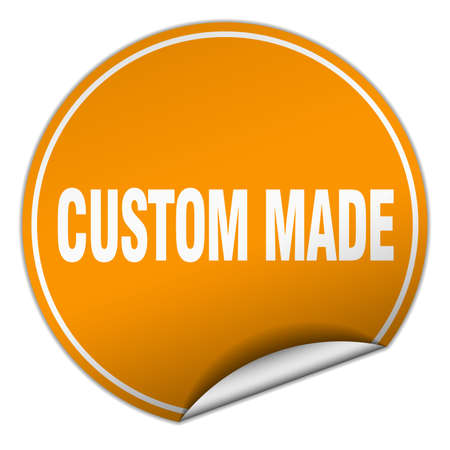 custom made: custom made round orange sticker isolated on white