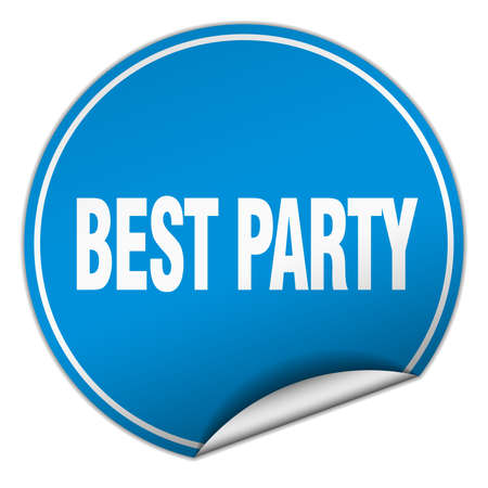best party: best party round blue sticker isolated on white