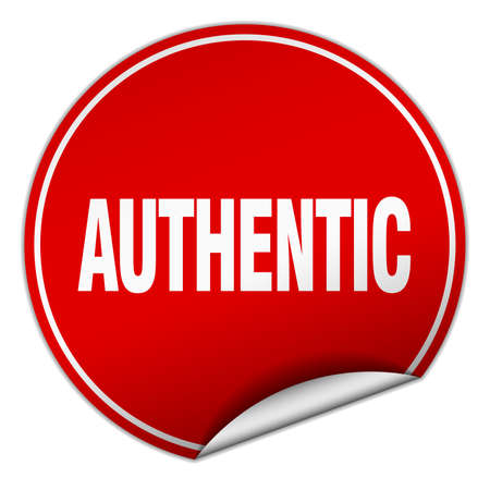 authentic: authentic round red sticker isolated on white