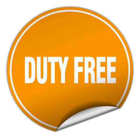 duty free: duty free round orange sticker isolated on white