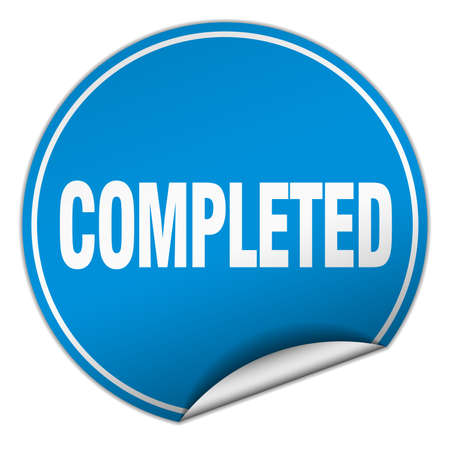 completed: completed round blue sticker isolated on white