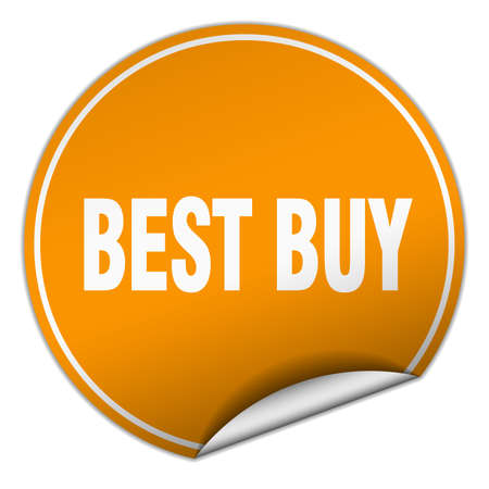 best buy: best buy round orange sticker isolated on white