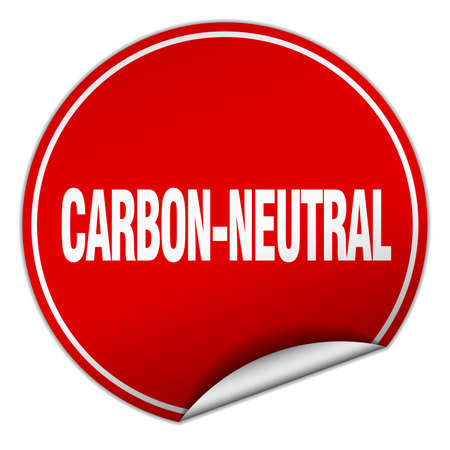 co2 neutral: carbon-neutral round red sticker isolated on white Illustration