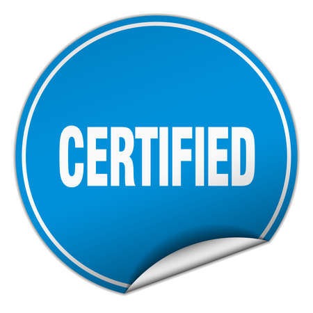 certify: certified round blue sticker isolated on white Illustration