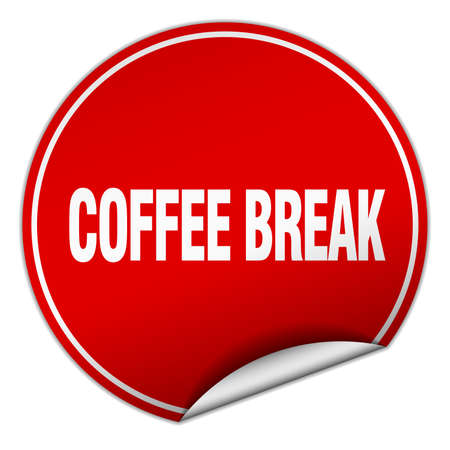 coffee break: coffee break round red sticker isolated on white