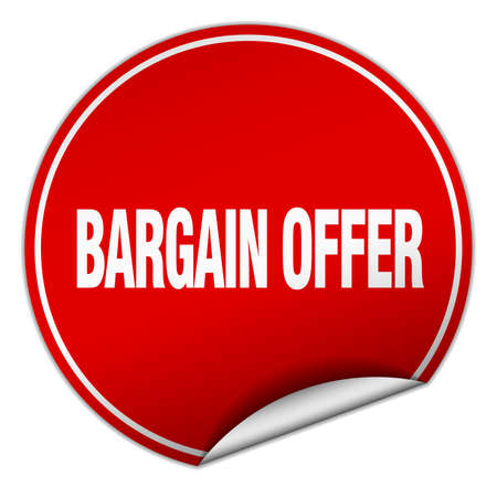smlouvat: bargain offer round red sticker isolated on white