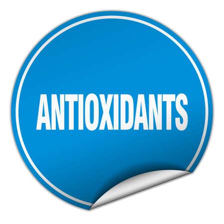 antioxidants: antioxidants round blue sticker isolated on white