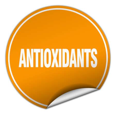 antioxidants: antioxidants round orange sticker isolated on white