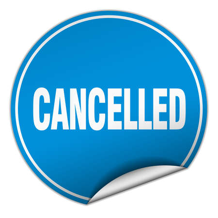 cancelled round blue sticker isolated on white