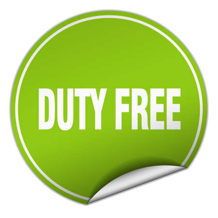 duty free: duty free round green sticker isolated on white