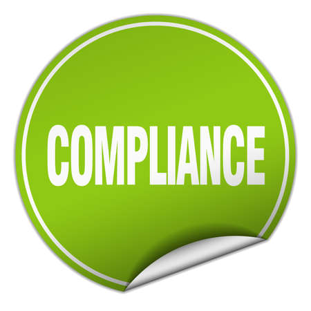 compliance: compliance round green sticker isolated on white Illustration