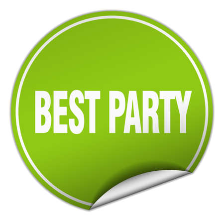 best party: best party round green sticker isolated on white Illustration
