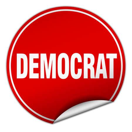 democrat: democrat round red sticker isolated on white