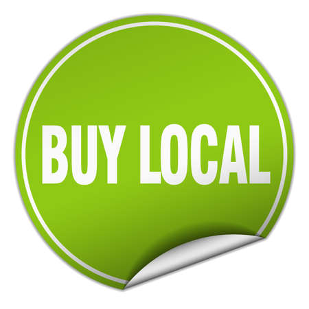 buy local: buy local round green sticker isolated on white Illustration