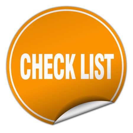 check list: check list round orange sticker isolated on white