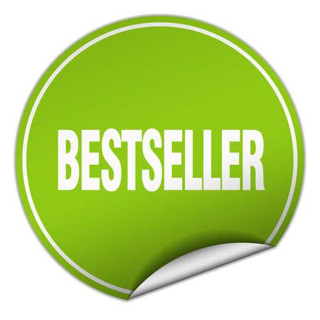 bestseller round green sticker isolated on white