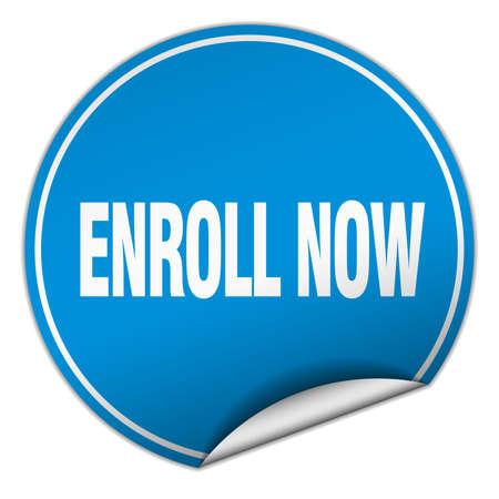 enroll: enroll now round blue sticker isolated on white Illustration