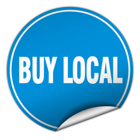 buy local: buy local round blue sticker isolated on white Illustration