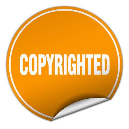copyrighted: copyrighted round orange sticker isolated on white
