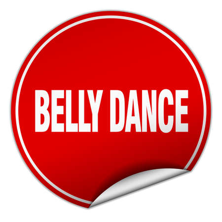 belly dance: belly dance round red sticker isolated on white Illustration