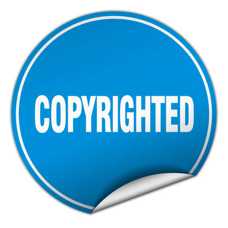 copyrighted: copyrighted round blue sticker isolated on white Illustration
