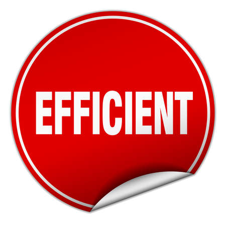 efficient: efficient round red sticker isolated on white
