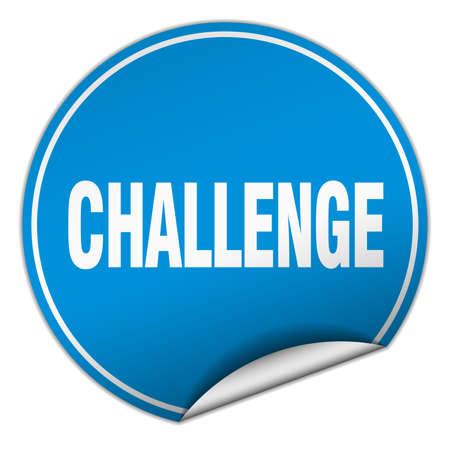 challenge round blue sticker isolated on white 向量圖像