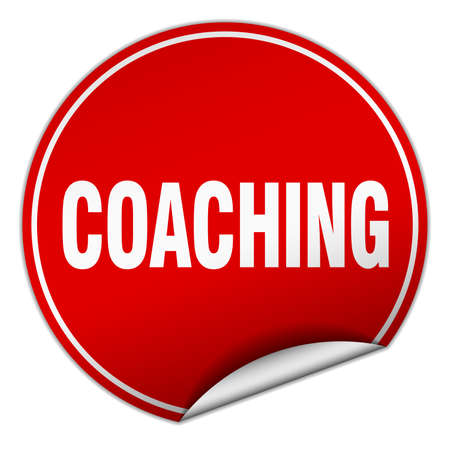 coaching: coaching round red sticker isolated on white