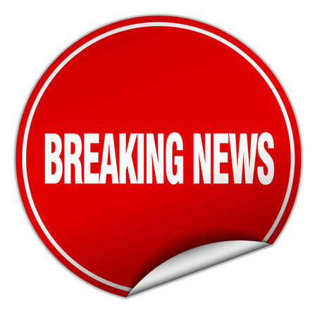 breaking news: breaking news round red sticker isolated on white