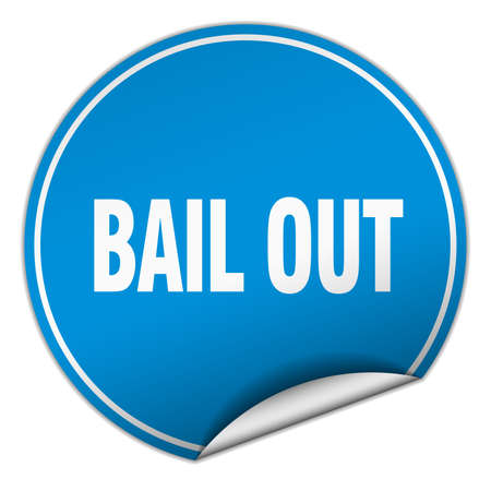 bail: bail out round blue sticker isolated on white