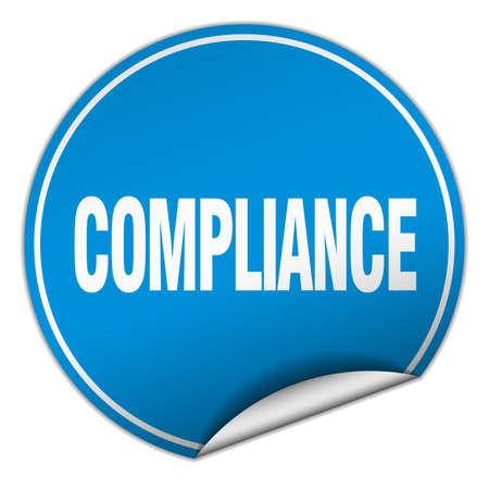 compliance: compliance round blue sticker isolated on white