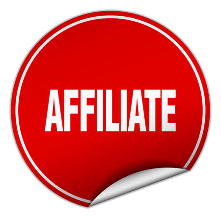 affiliate: affiliate round red sticker isolated on white