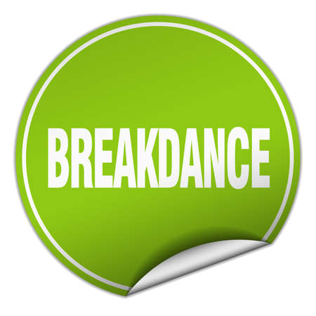 breakdance: breakdance round green sticker isolated on white Illustration