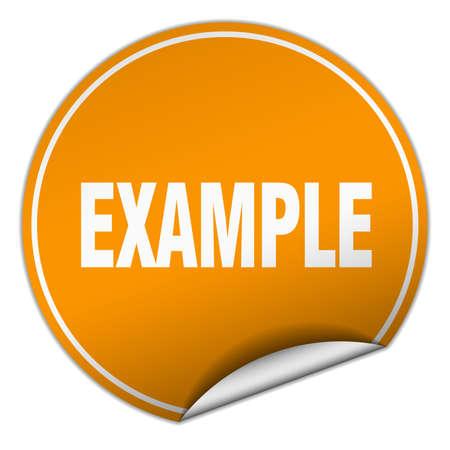 an example: example round orange sticker isolated on white