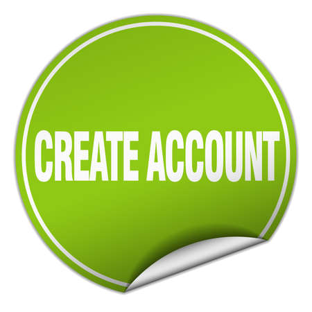 create: create account round green sticker isolated on white Illustration