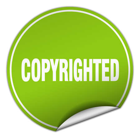 copyrighted: copyrighted round green sticker isolated on white